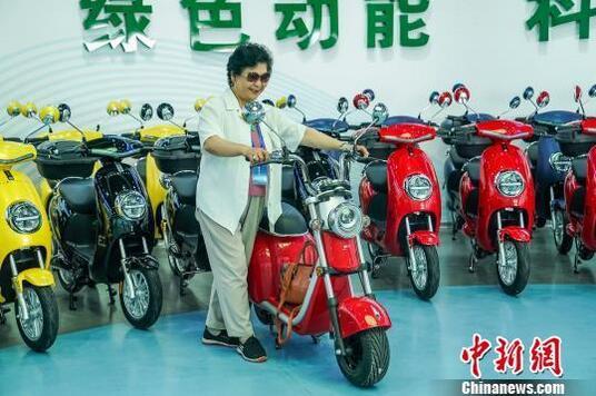 海外华文媒体代表在电动车旁留影。 陈冠言 摄.jpg