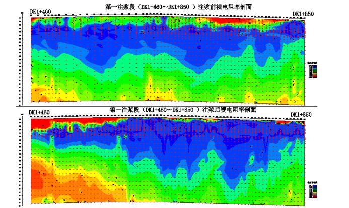 图2  DK1+460~DK1+850注浆前后视电阻率变化图.png