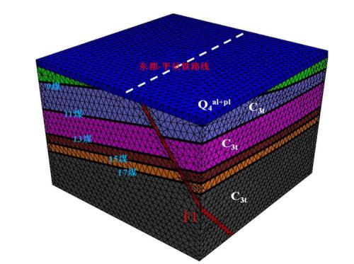 图1 采空区顶板稳定性计算分析的FLAC3D模型.png